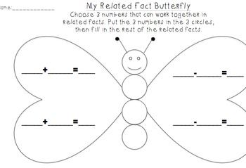 Related Fact Butterfly- Fact family practice