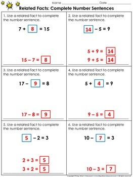 Related Facts: Complete Number Sentences Practice Sheets - Fact Family