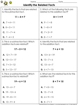 Related Facts: Identify the Related Facts Practice Sheets