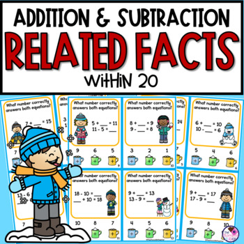 Related Facts With Addition and Subtraction Up to and From 20 Poke Cards