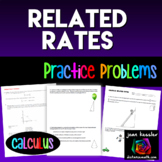 Calculus Related Rates Practice Problems NO PREP | Distance Learning