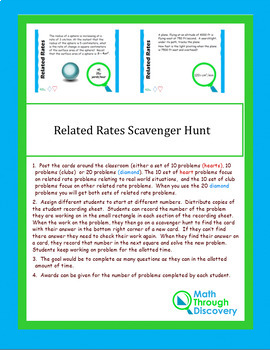 Related Rates Scavenger Hunt