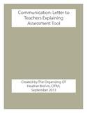Related Services - Letter to Teachers Explaining Assessment