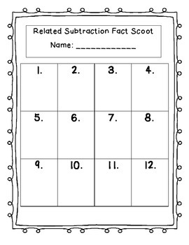 Related Subtraction Fact Scoot