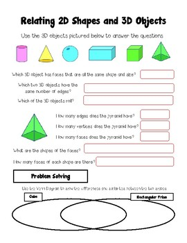 Relating 2D Shapes and 3D Objects Worksheet