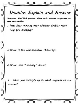 Relating Addition Doubles to Multiplication x2