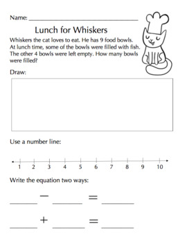 Relating Addition Subtraction Word Problem Freebie First Grade Math