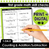 Relating Counting to Addition and Subtraction - First Grade Print and Go