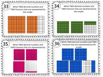 Relating Decimals to Fractions Task Cards 4.2G, 4.2E, 4.NF.C.6