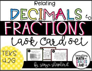 Relating Decimals to Fractions Task cards:  Teks 4.2G
