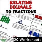 Relating Decimals to Fractions Worksheets No Prep TEKS 4.2G, CCSS.4.NF.C.6