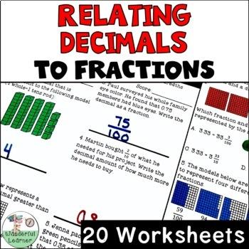 Relating Decimals to Fractions 20 Worksheets No Prep TEKS 4.2G, CCSS.4.NF.C.6