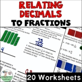 Relating Decimals to Fractions 20 Worksheets No Prep TEKS