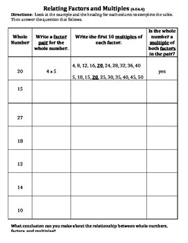 Relating Factors and Multiples