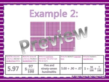Relating Fractions to Decimals PowerPoint & Worksheet (Tenths & Hundredths)