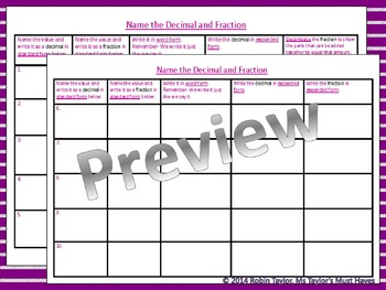 Relating Fractions to Decimals PowerPoint & Worksheet 4.2G