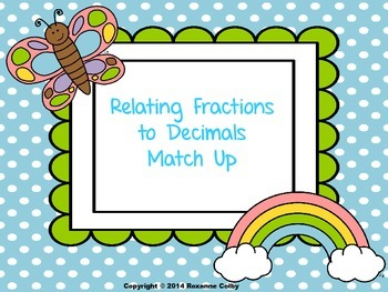 Relating Fractions to Decimals Match