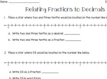 Relating Fractions to Decimals on a Number Line - Tenths