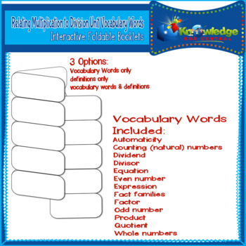 Relating Mult. to Div. Unit Vocabulary Words Interactive Foldables for 3rd Grade