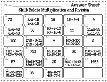 Relating Multiplication and Division 3.OA.B.5, 3.OA.B.6, 3.OA.C.7