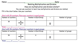 Relating Multiplication and Division Smartboard and Practice Activity