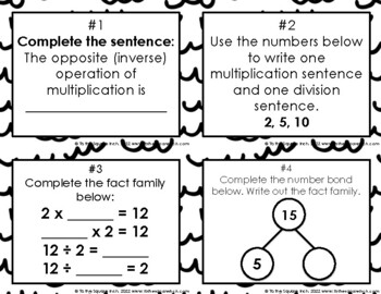 Relating Multiplication and Division Task Cards