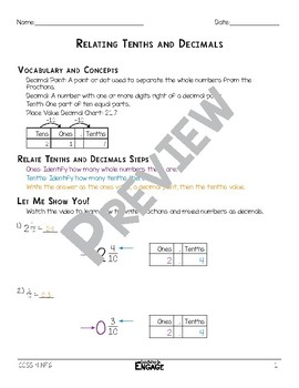 Relating Tenths and Decimals