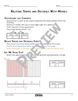 Relating Tenths and Decimals with Models Math Video and Worksheet
