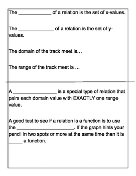 Relation and Functions Graphic Organizer