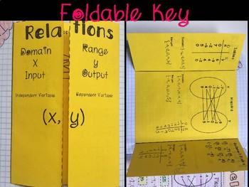 Relations, Domain, & Range Foldable, INB, Practice Worksheet, & Exit Ticket