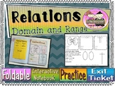 Domain & Range of Relations Foldable, INB, Practice Worksheet, & Exit Ticket