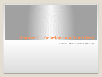 Relations, Domain, and Range