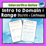 Relations, Domain and Range Interactive Notebook Notes - Continuous vs. Discrete