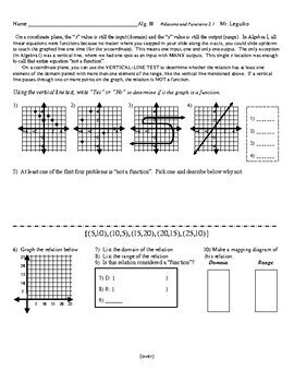 Relations & Functions - Review (Notes, WS, PopQuiz w/ Answer Keys)