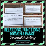 Relations, Functions, Domain, Range: Carousel Activity
