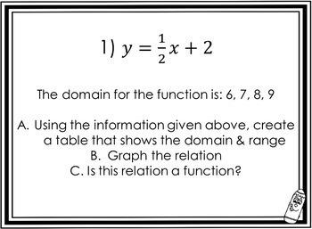 Relations, Functions, Domain, Range: Carousel Activity