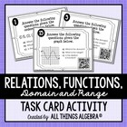 Relations, Functions, Domain and Range Task Cards