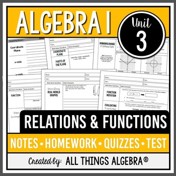 Relations and Functions (Algebra 1 Curriculum - Unit 3) by