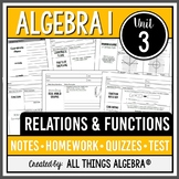 Relations and Functions (Algebra 1 Curriculum - Unit 3) - DISTANCE LEARNING