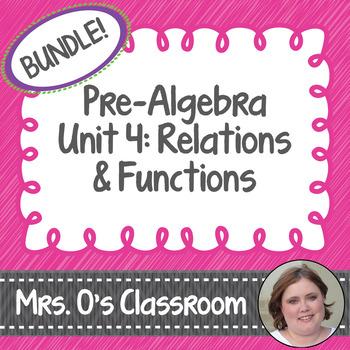 Relations & Functions Unit Bundle Notes, Homework, Quizzes, Study Guide & Test