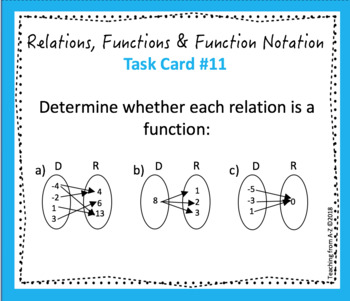 Relations, Functions and Function Notation Task Cards