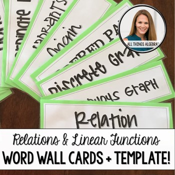 Relations & Linear Functions - Word Wall Cards + Template