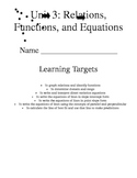 Relations, Slope, Writing Equations, Line of Best Fit