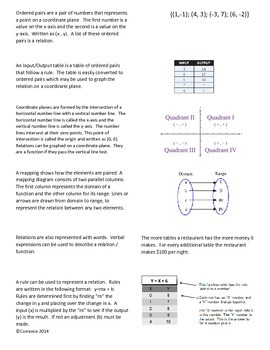 Relations and Functions Foldable
