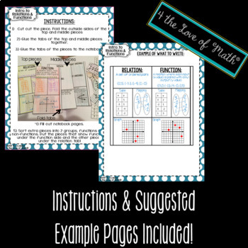 Relations and Functions Interactive Notebook Page