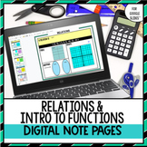 Relations and Introduction to Functions Digital Note Pages