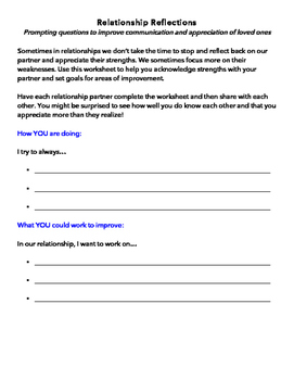 Relationship Reflections: Prompting Questions & Goal Setting Worksheet