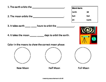 Relationship between earth, the moon and the sun Assessment