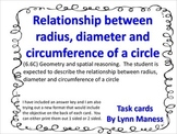 Relationship between radius, diameter and circumference Task Cards STAAR review