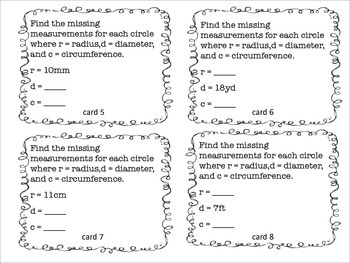 Relationship between radius, diameter and circumference Task Cards STAAR review
